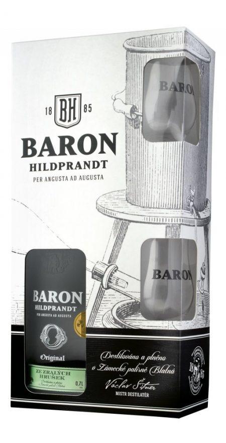 Lahev Baron Hildprandt Zralá Hruška 0,7l 40% + 2x sklo GB